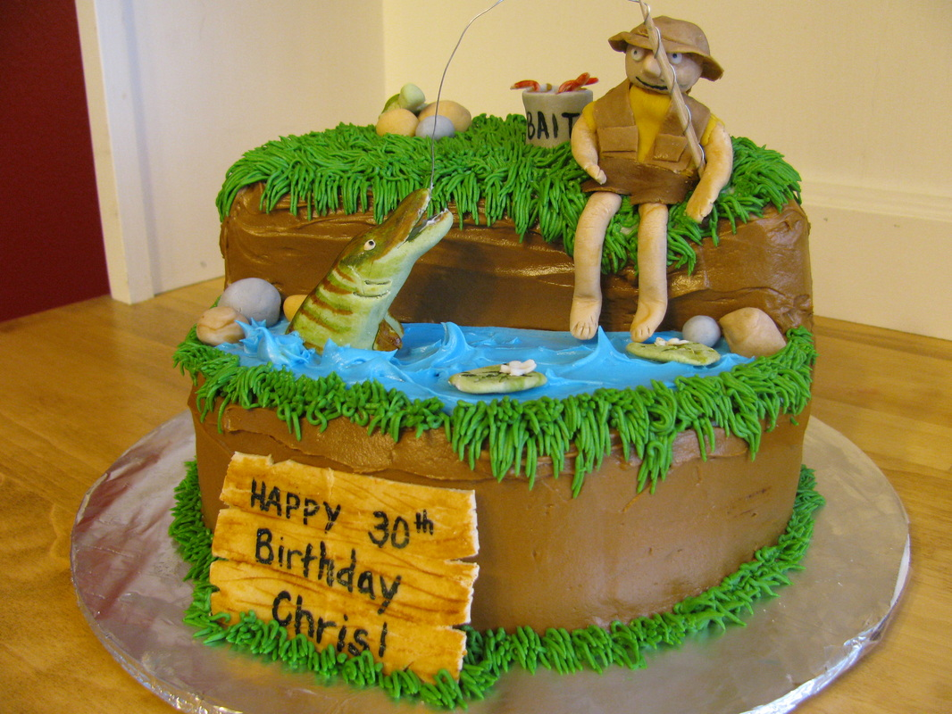 Fish Theme Birthday Birthday Cake http://sweetandsassybaker.weebly.com/1/post/2012/2/30th-birthday-fishing-theme-cake.html