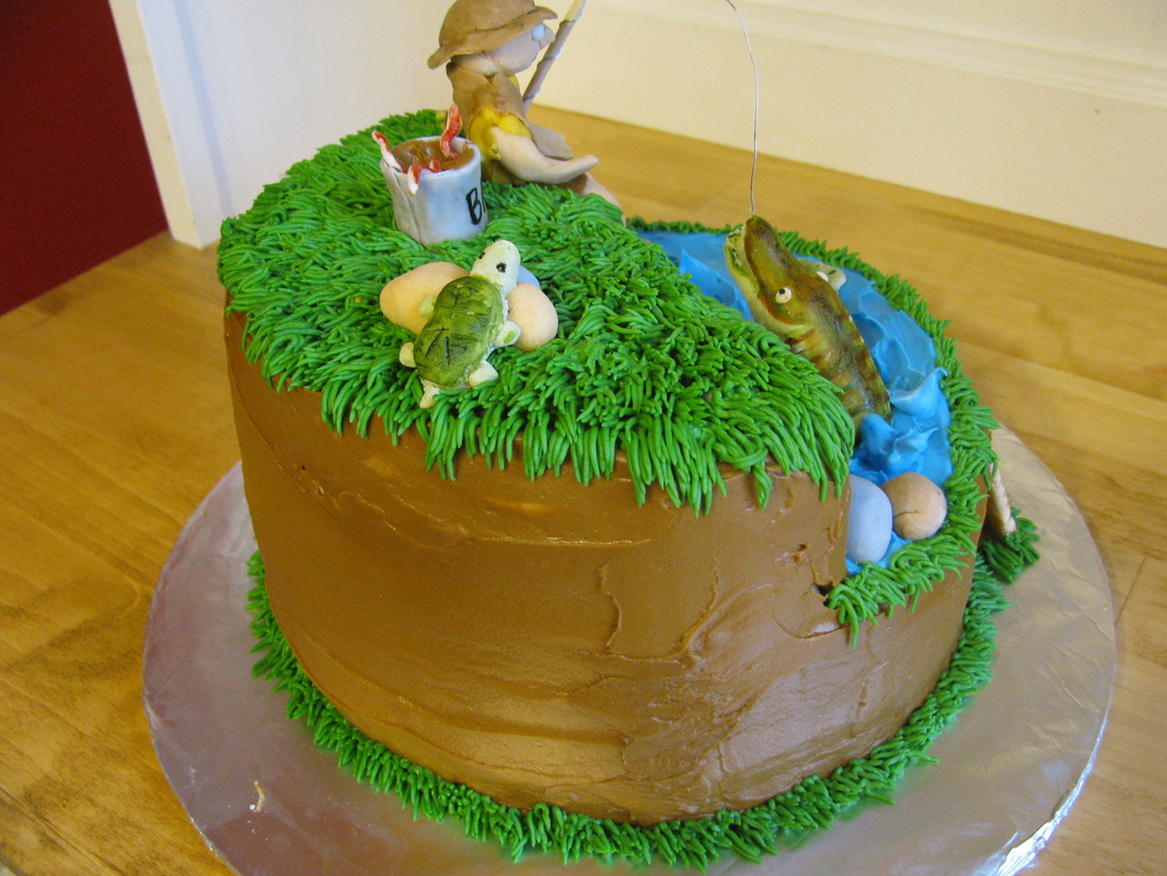 Fish Theme Birthday Birthday Cake http://sweetandsassybaker.weebly.com/1/post/2012/02/30th-birthday-fishing-theme-cake.html
